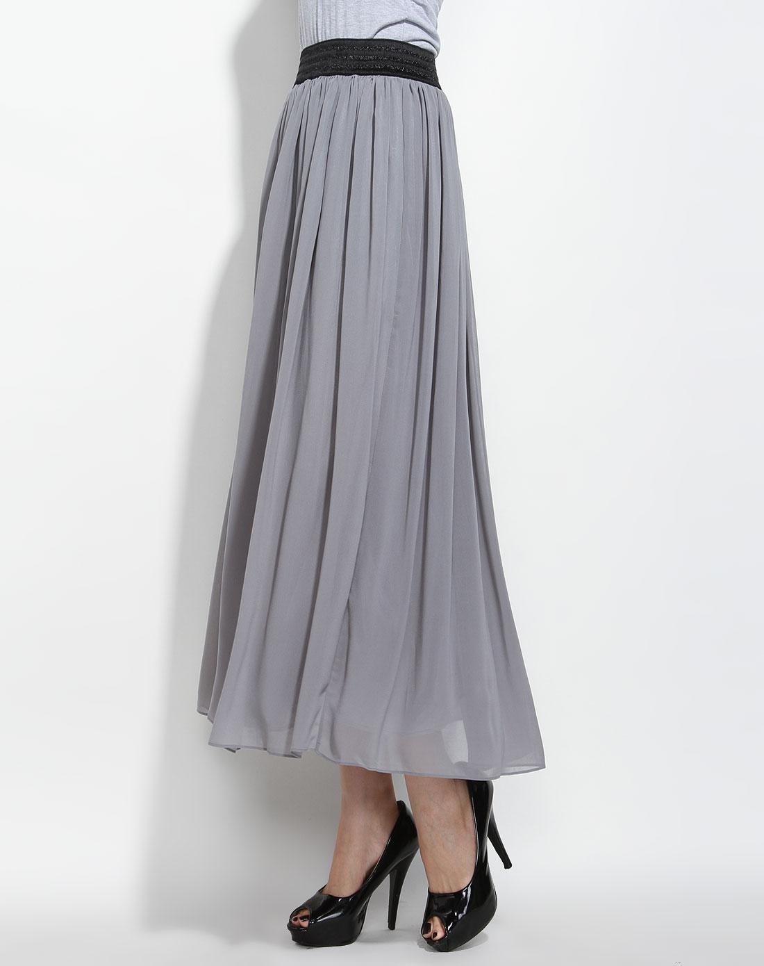 灰色百褶长裙2331505335