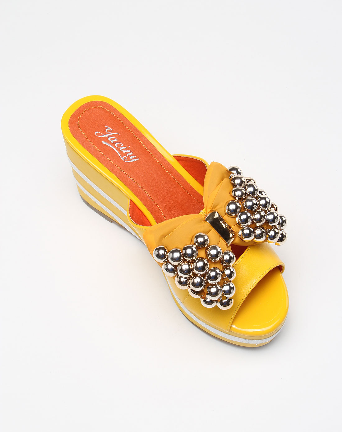 俏皮可爱黄色大蝴蝶结串珠高跟鞋
