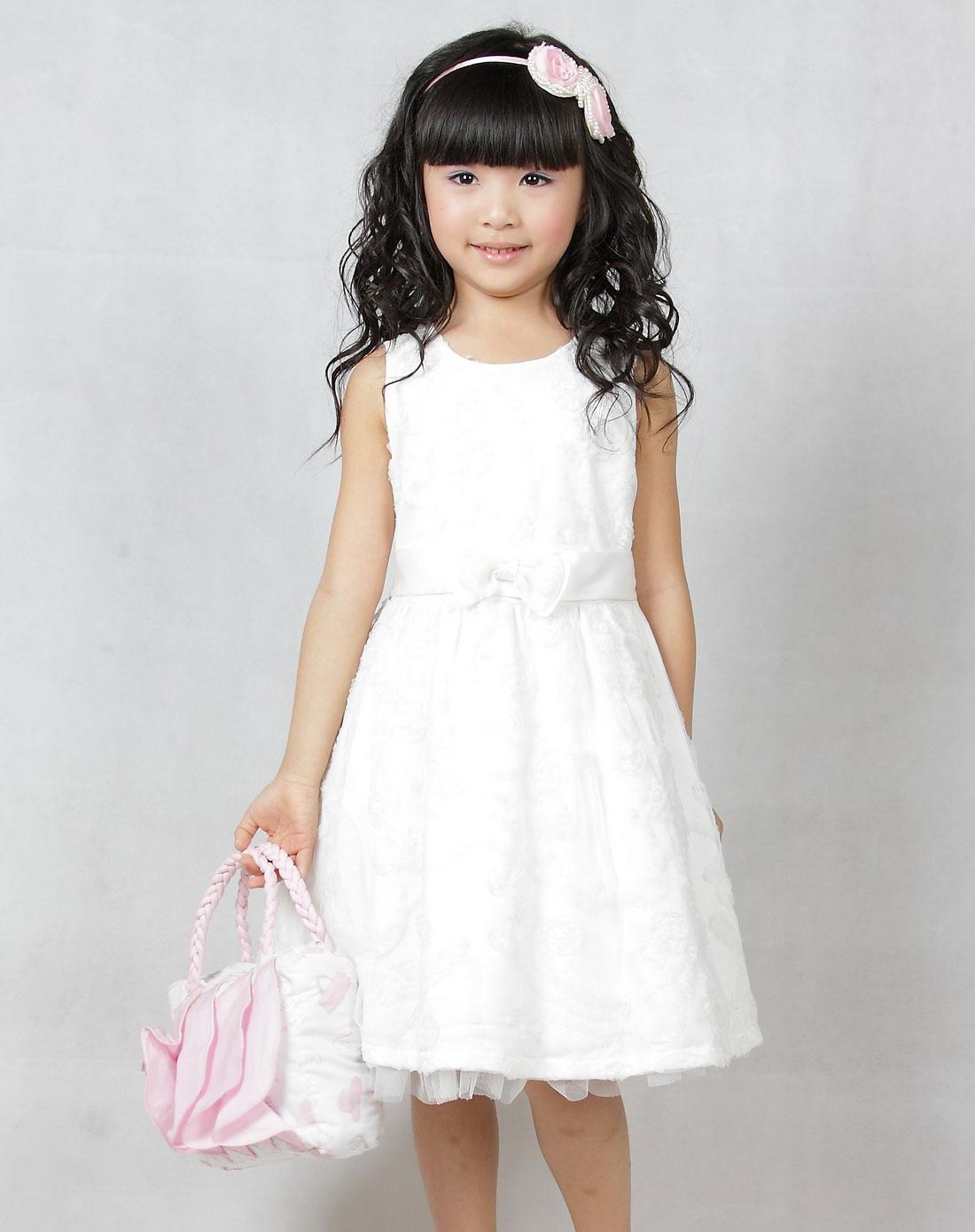 女童白色玫瑰公主纱裙
