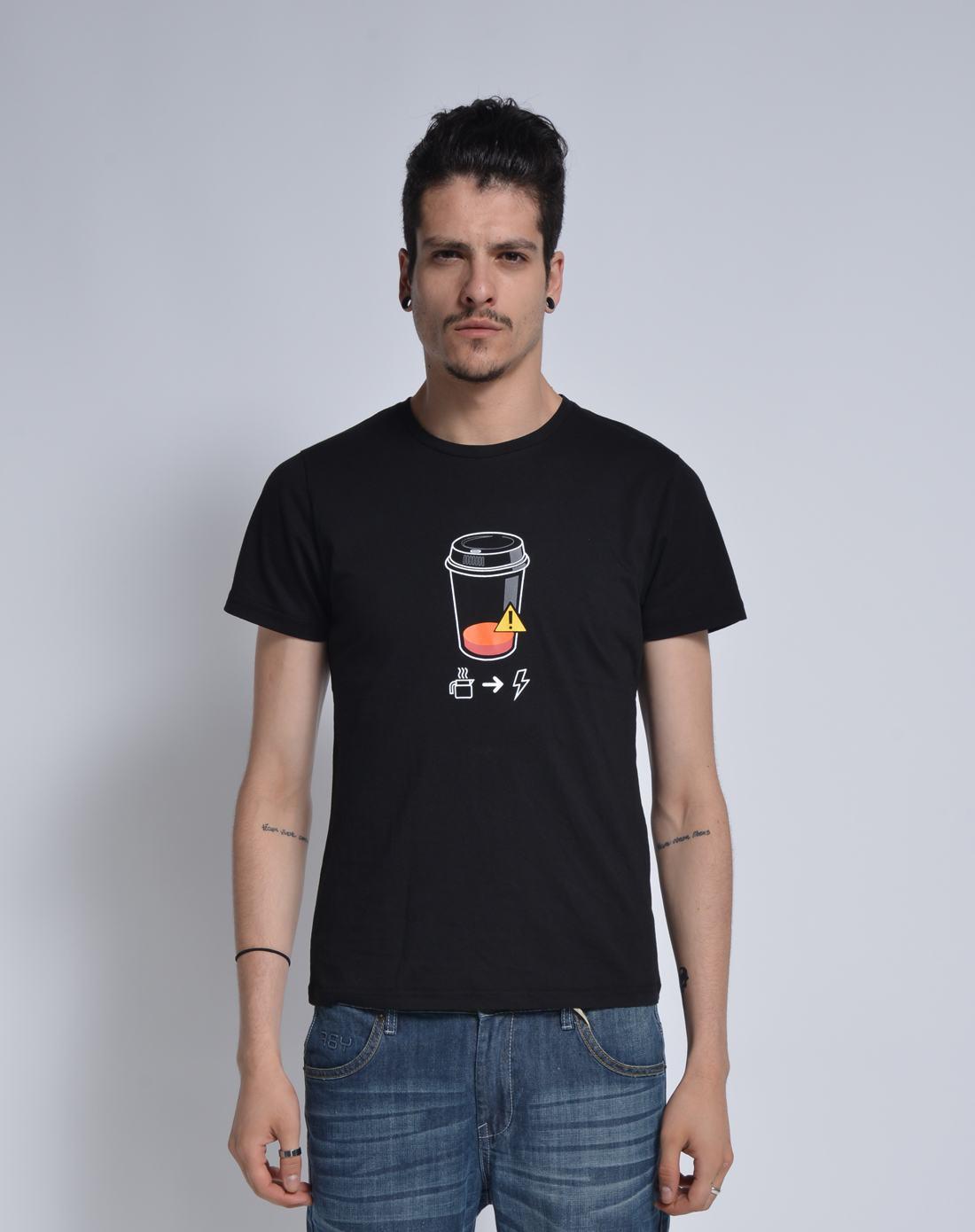 杯子印图黑色短袖t恤