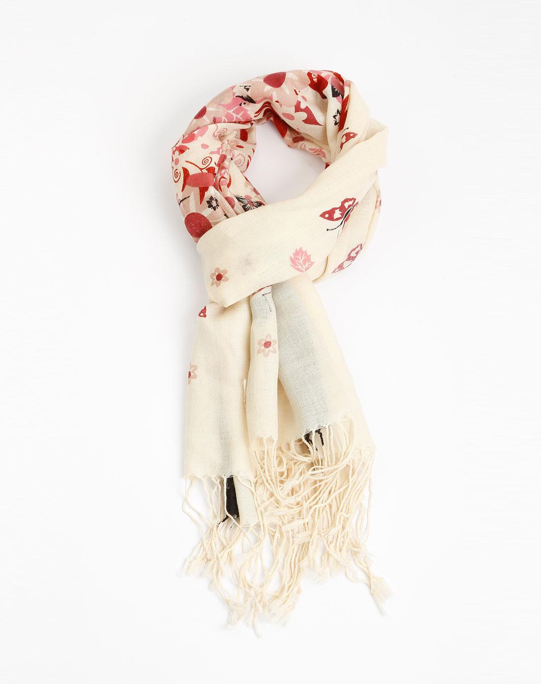零点女款红/米色印花羊毛围巾wj110170009r