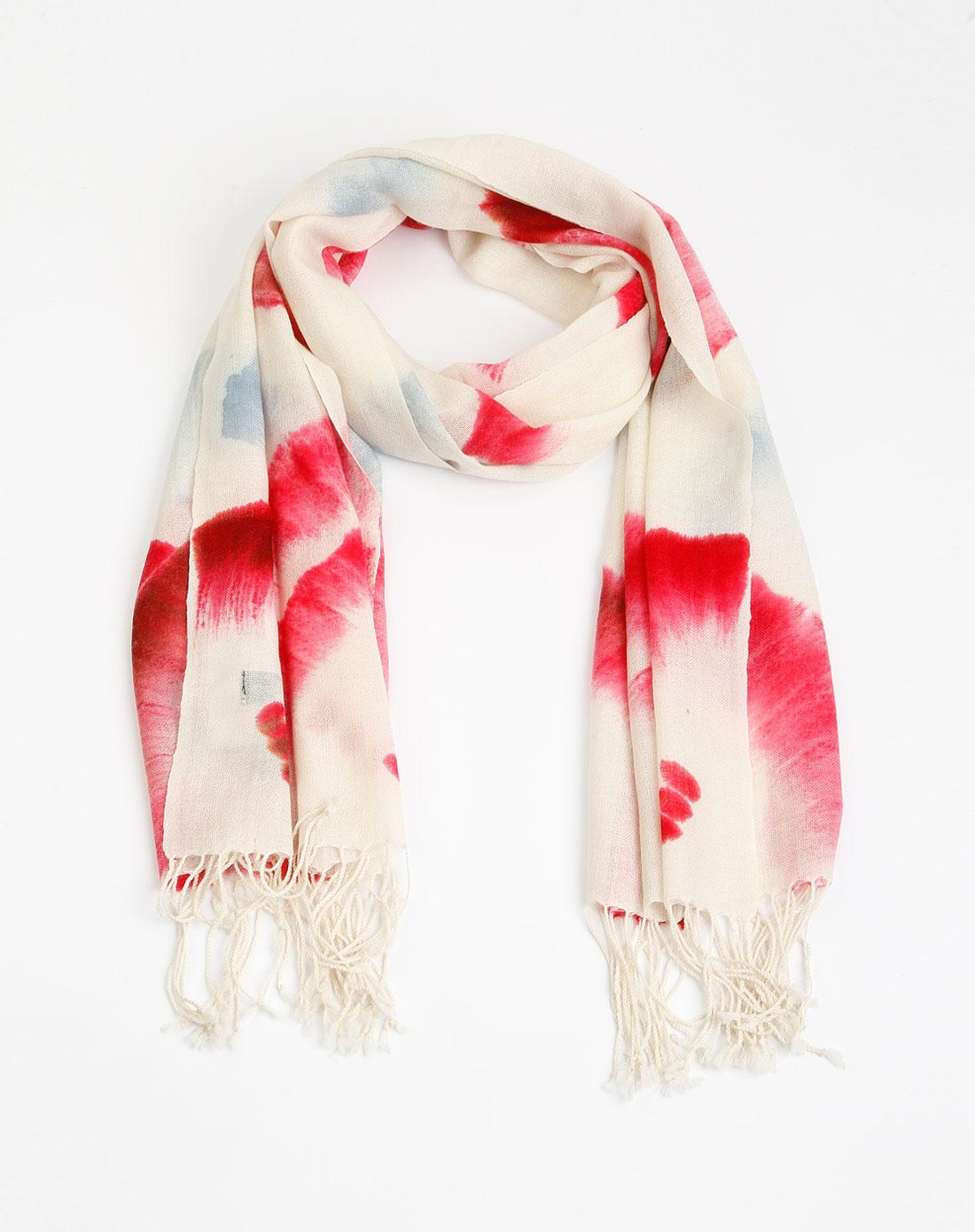 粉/米色羊毛手绘围巾