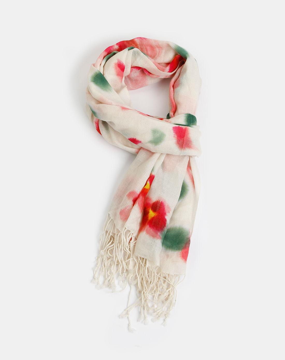 女款彩色羊毛手绘围巾