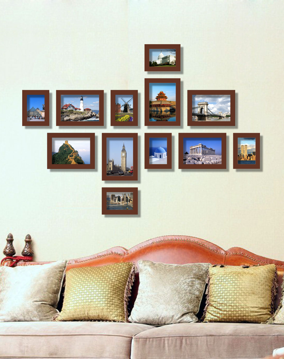 傲乐斯aules壁饰专场12枚实木相框墙12c03多种排列