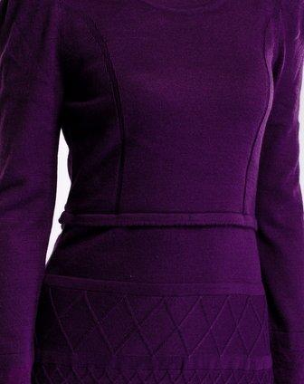 紫色立体纹路连衣裙款毛衣