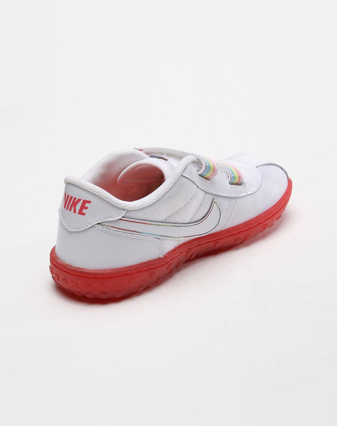 耐克nike 儿童魔术贴红底白色休闲鞋