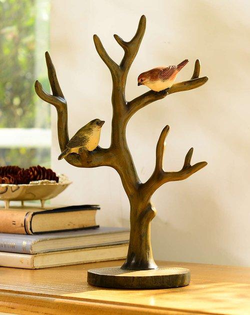 家饰摆件麦德彩色手绘树鸟首饰架