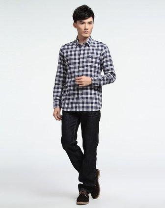 蓝灰色格子时尚长袖衬衫