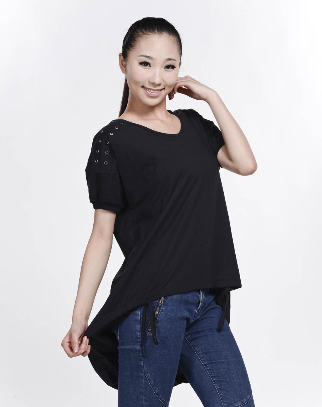 阿迪达斯adidas女子黑色短袖t恤x41435