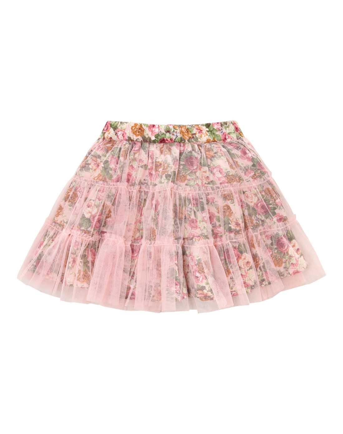 女童粉红网纱花裙