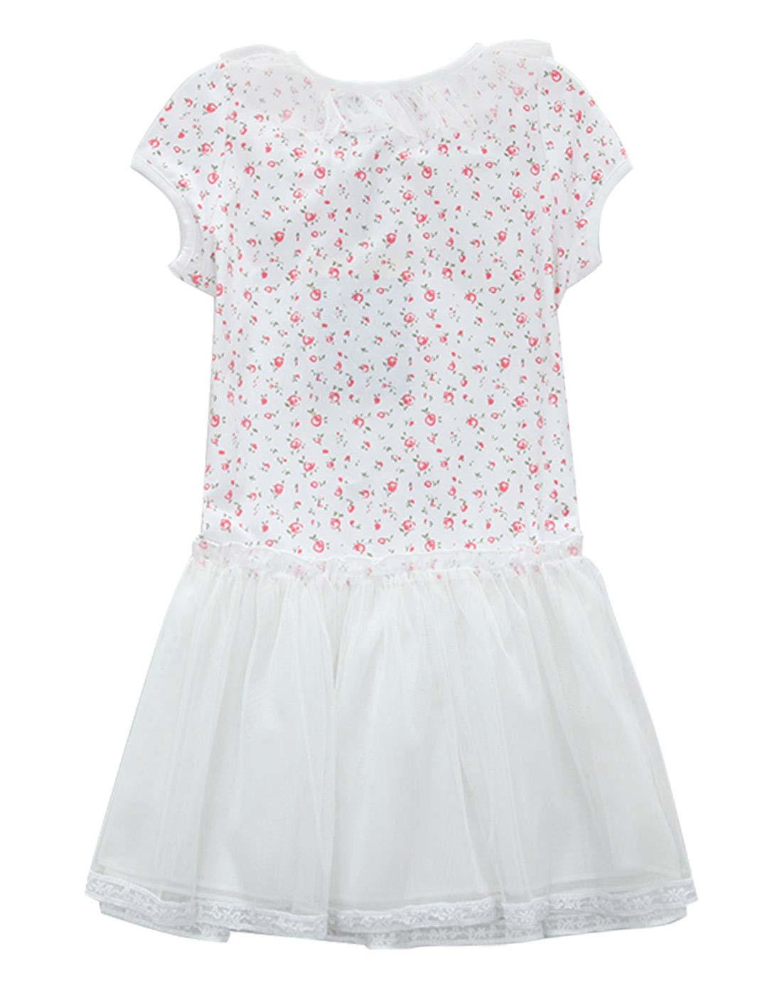 女童白色小花连衣纱裙