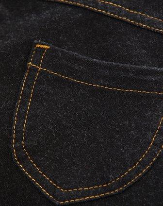 女童黑色心形线牛仔裤