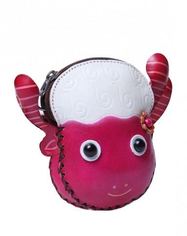 手工牛皮制作十二生肖彩绘零钱包红色羊