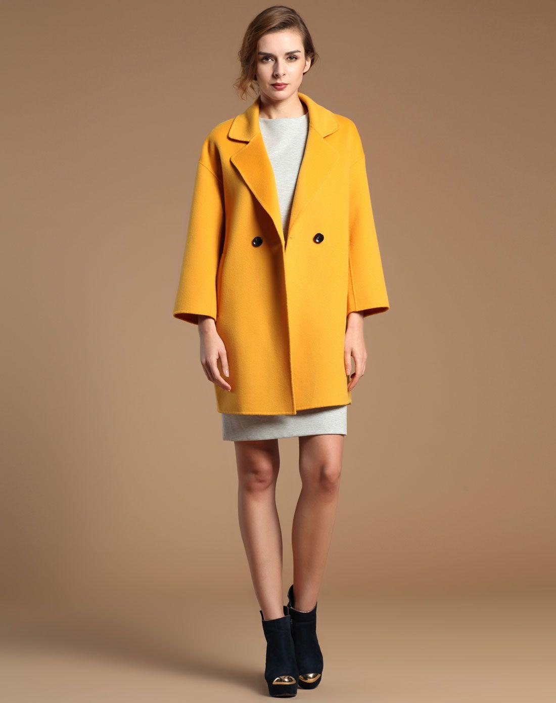 女双面呢廓形大衣