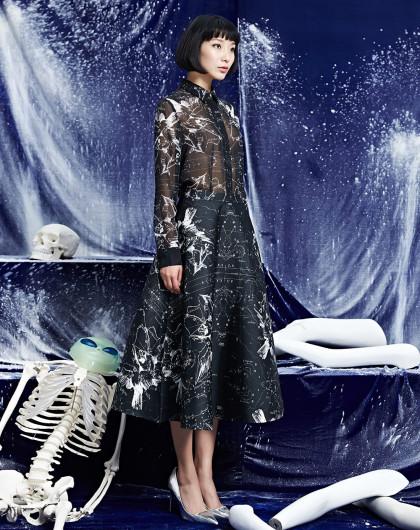 d2c设计师专场刘思聪 发光星球系列 裙摆半身裙l-黑色