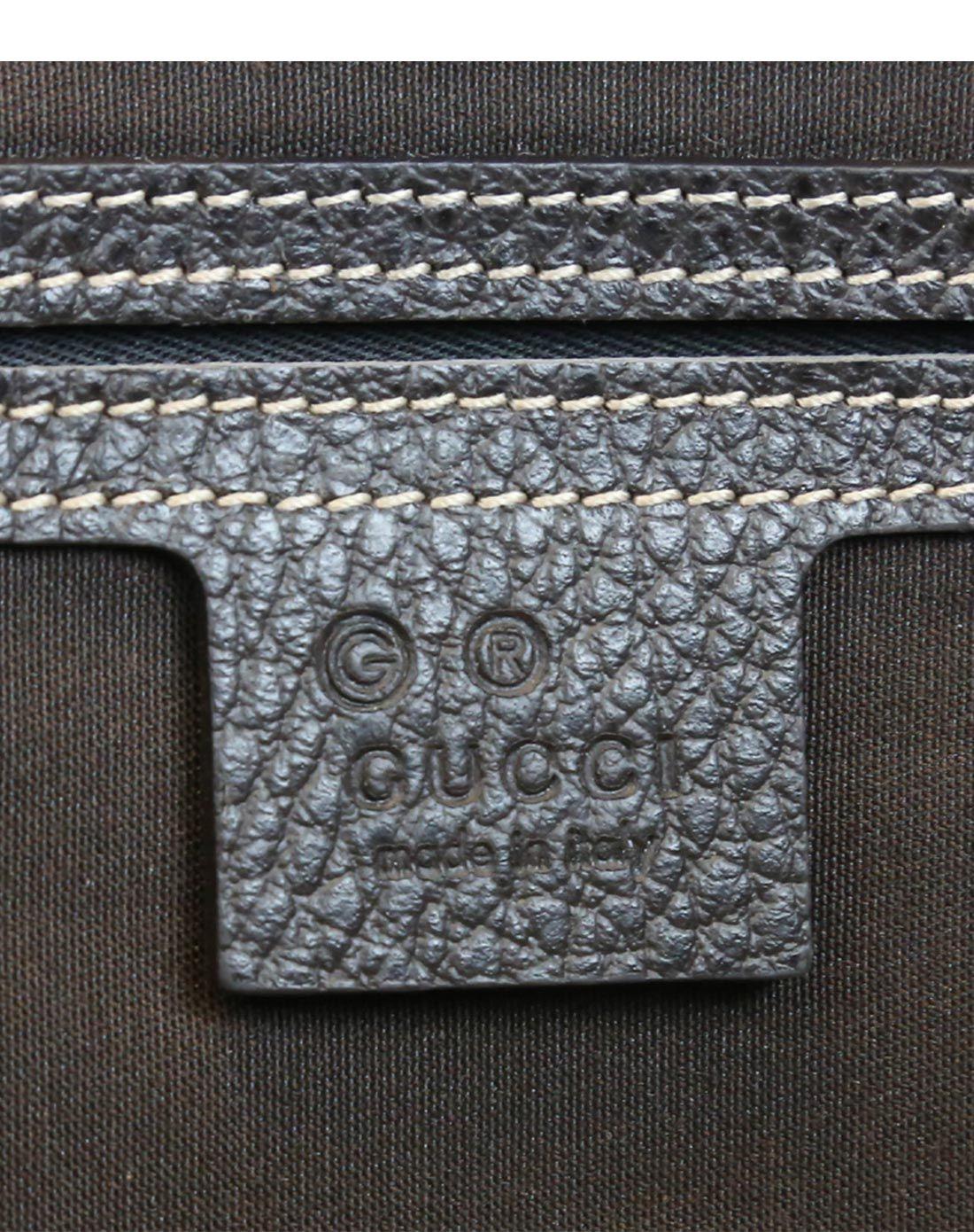 gucci女士褐色印花帆布手提包