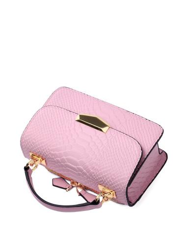 2016新款女士粉红色蛇纹迷你手提包