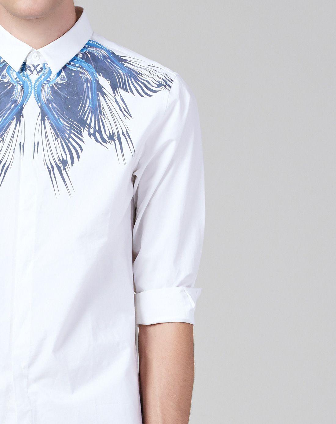 白色未来羽毛设计感印花衬衫