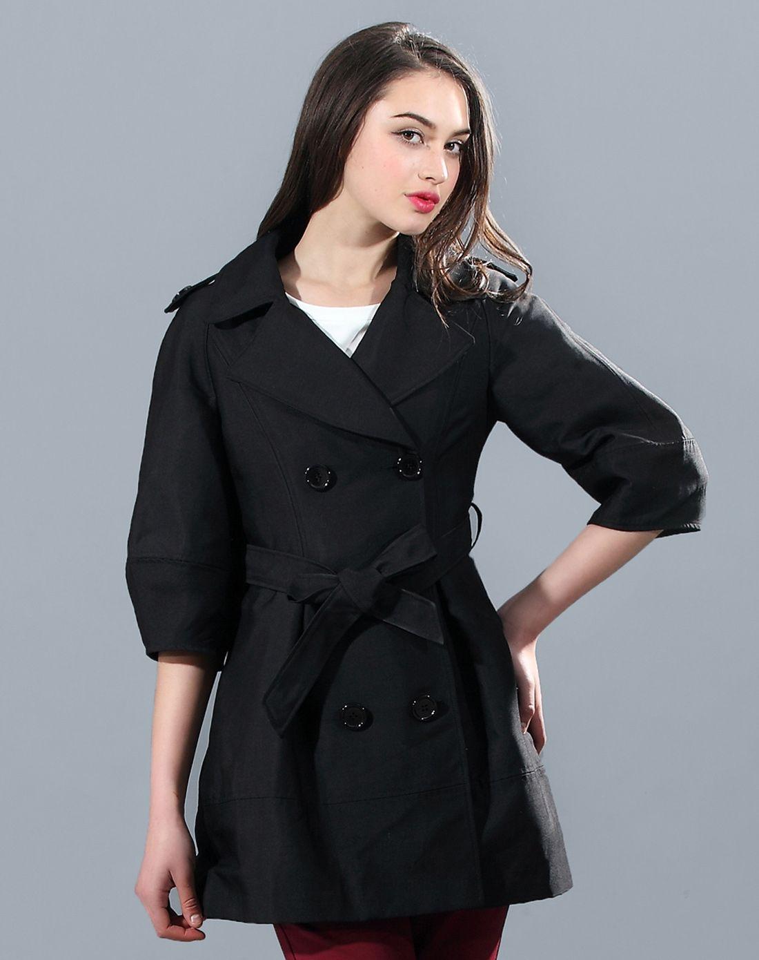 时尚淑女女士黑色风衣