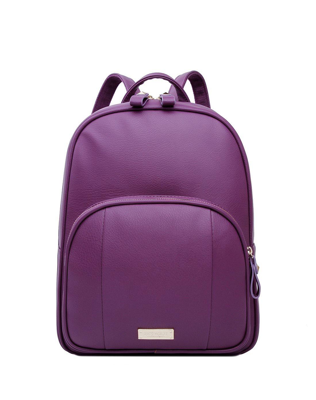 r.u女款紫色时尚简约纯色双肩包6ei070
