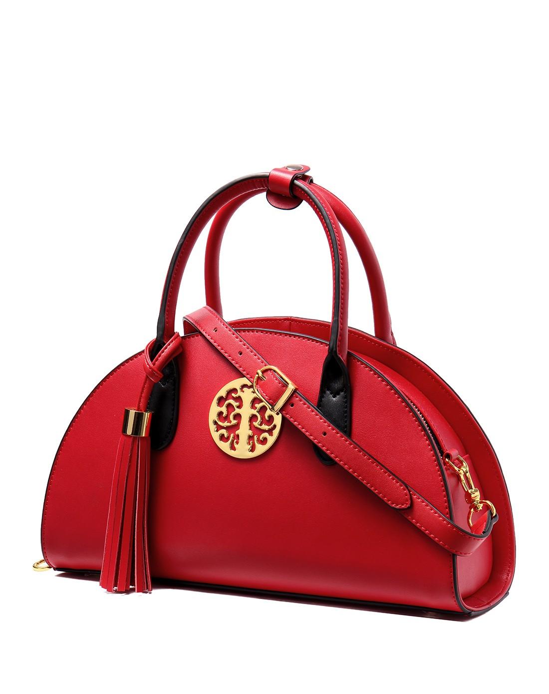 女士红色民族风流苏挂饰半圆手提包