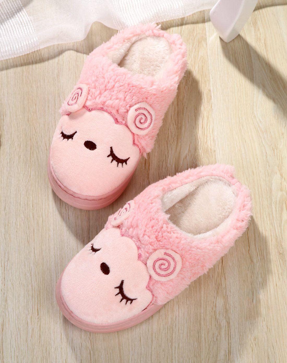 戴君儿女款粉色可爱小羊保暖棉拖鞋mx116a