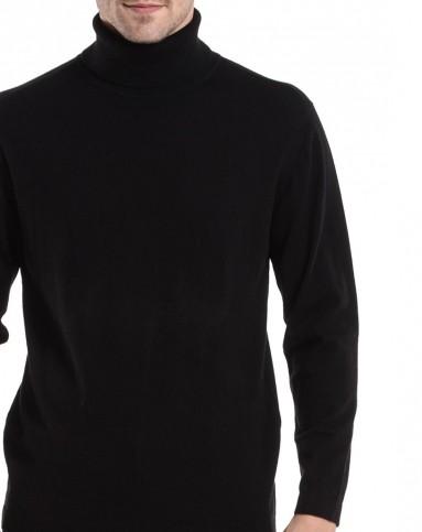 黑色纯色高领商务休闲长袖羊毛衫