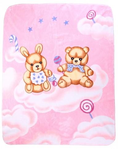 纤丝鸟儿童内衣用品专场婴儿粉色两只小熊毛毯thy