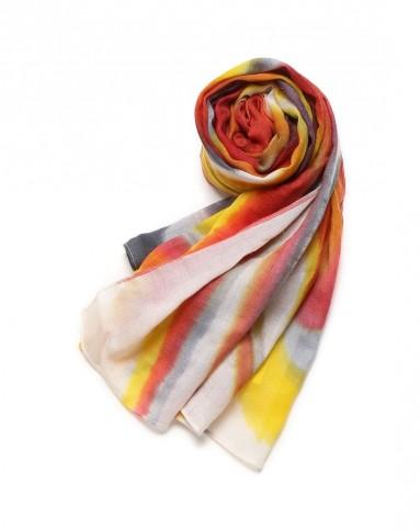 中性款彩色手绘图案羊绒围巾
