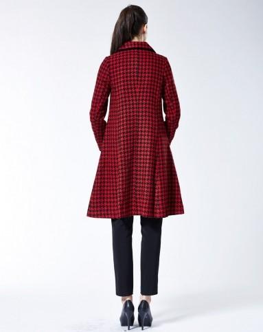 teng红黑花纹时尚优雅千鸟格两件套大衣m2144
