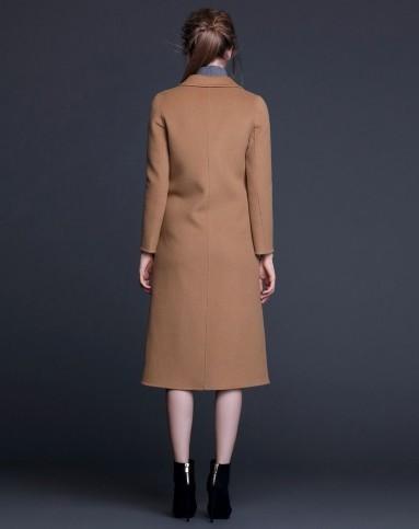 女士驼色双面羊绒大衣女手工双面呢大衣