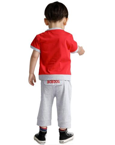 男童红色卡通可爱套装b42z