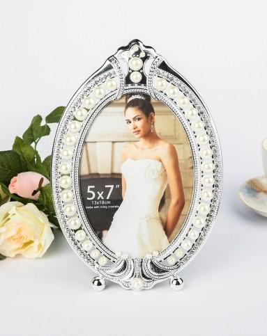 其乐居舍欧式高档镶珍珠椭圆形摆台相框39012201803