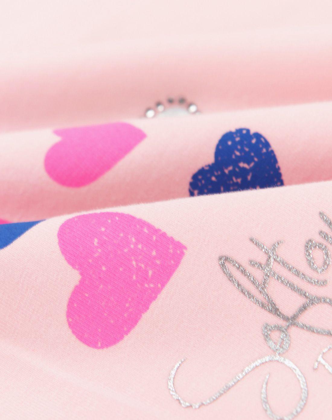 女童浅粉色卡通花边t恤