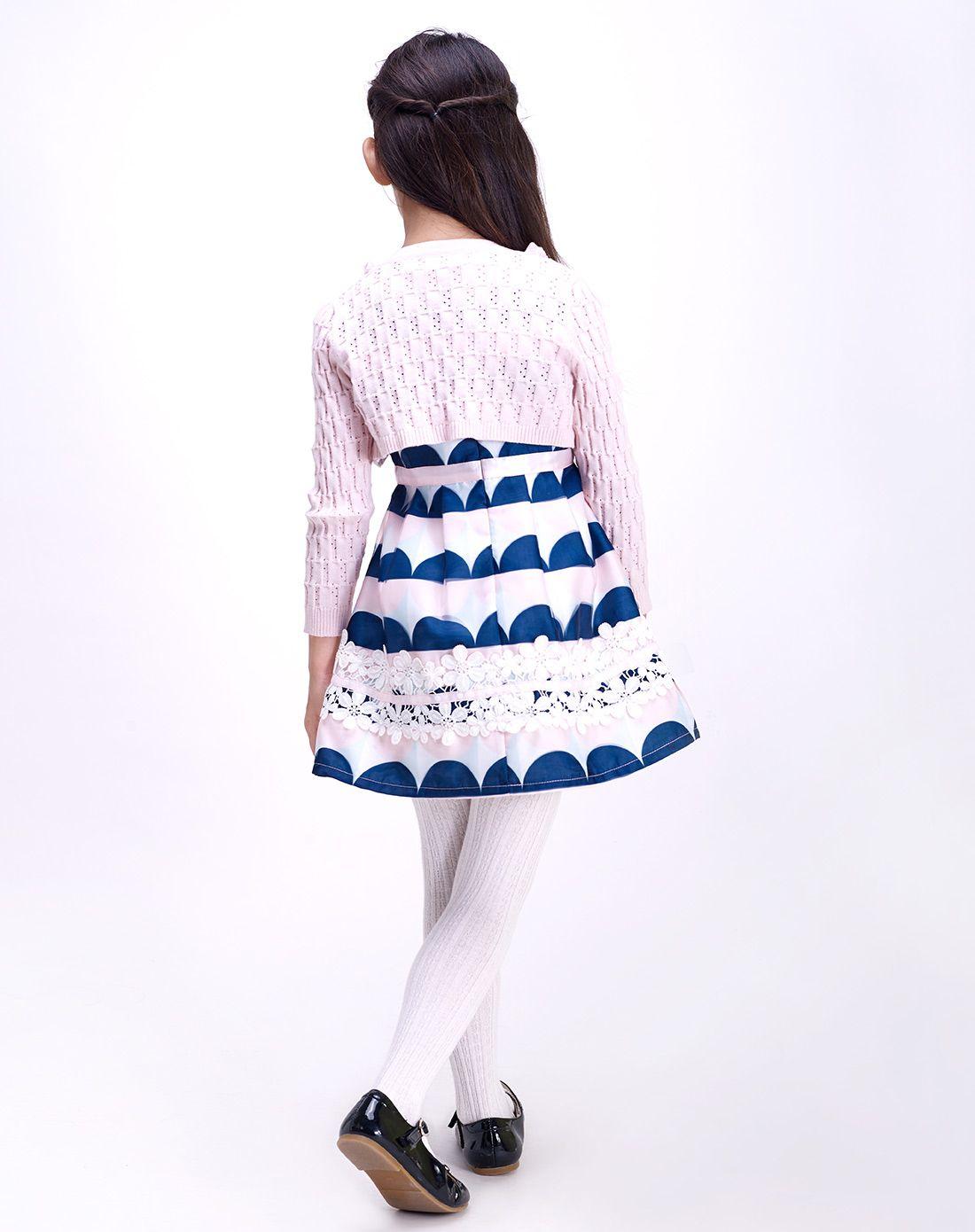 白底印蓝花女童可爱蕾丝公主裙