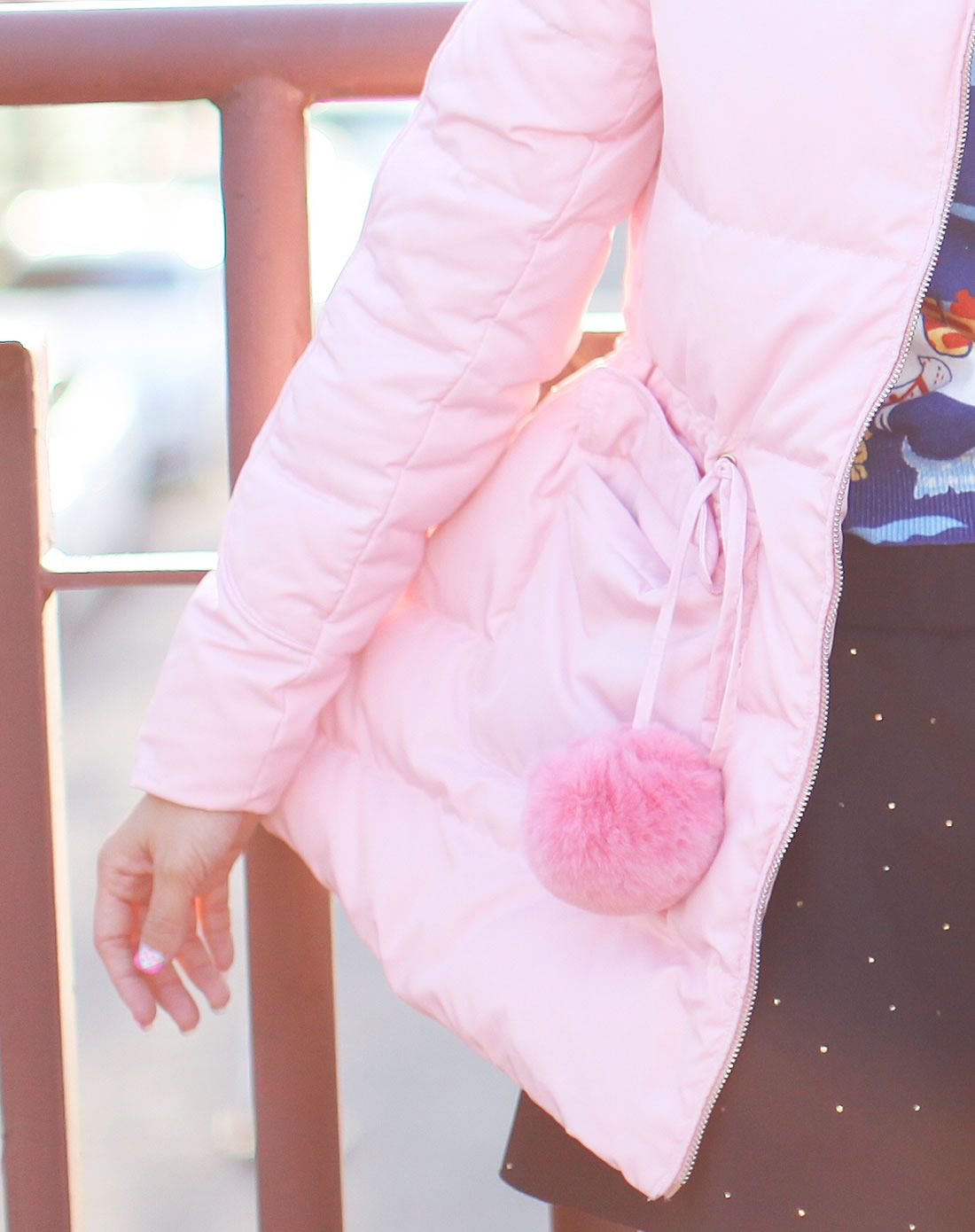 天使之城粉色可爱连帽a字中长款羽绒服