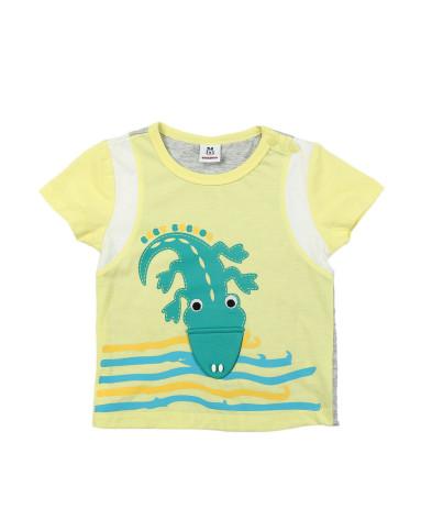 男童黄色卡通动物图案t恤