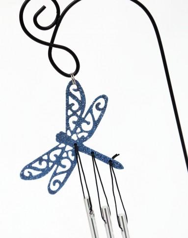 > 金属喷绘盆栽花插剪影风铃-蜻蜓 蜂鸟