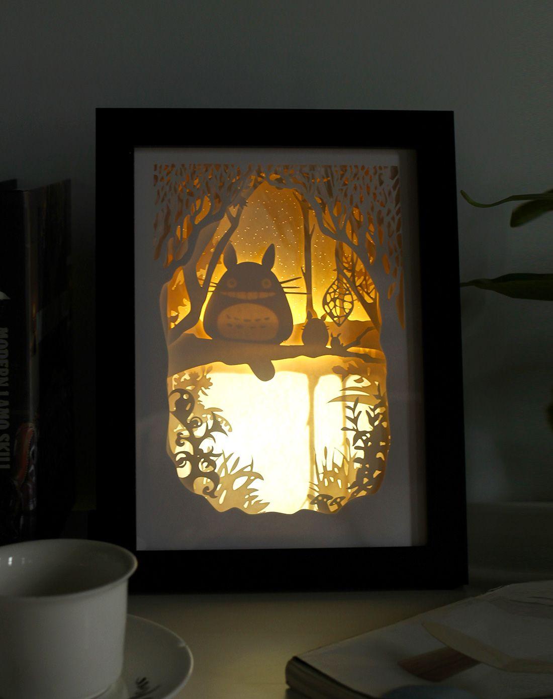 趣玩创意(龙猫)立体风景纸雕装饰画小夜灯tf53064