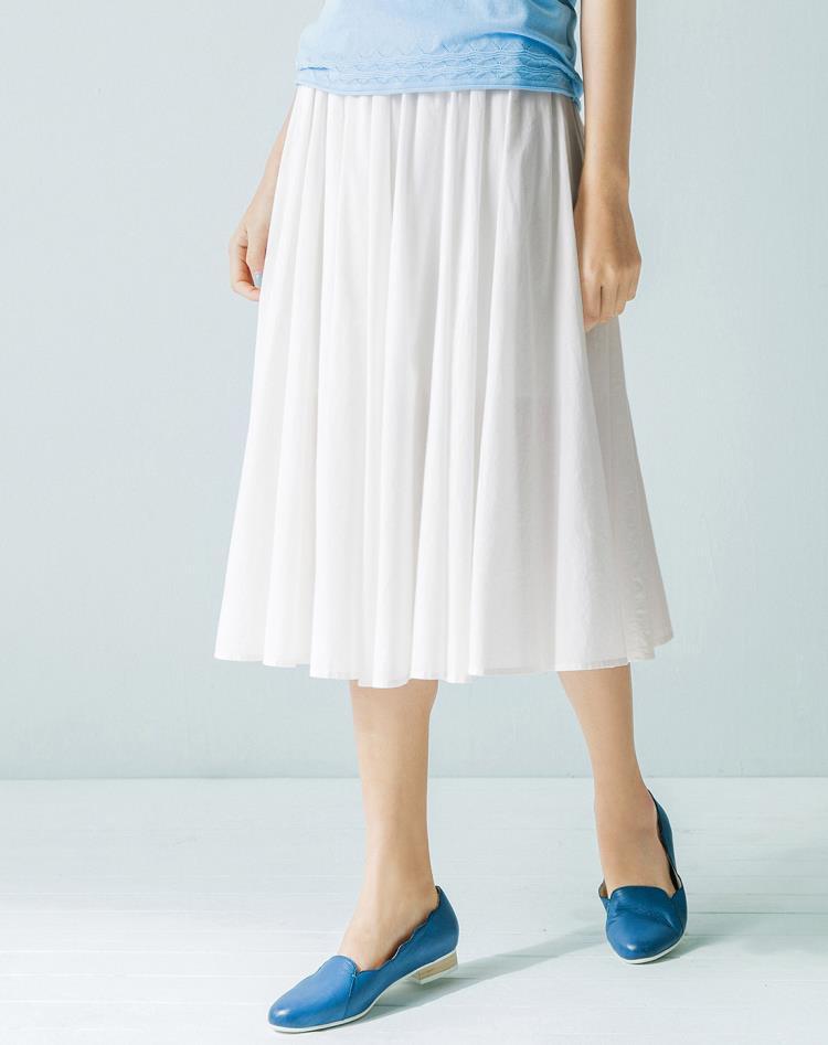 珍珠白棉质半身百褶裙