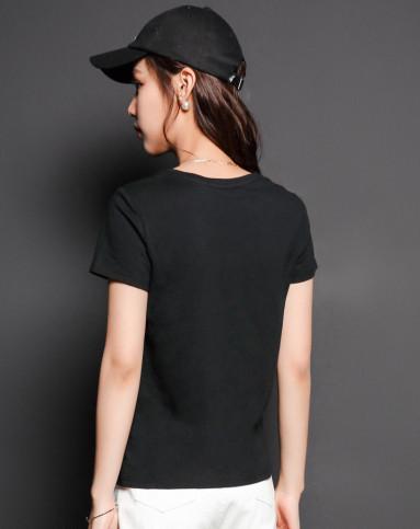 黑色 趣味小人印花t恤