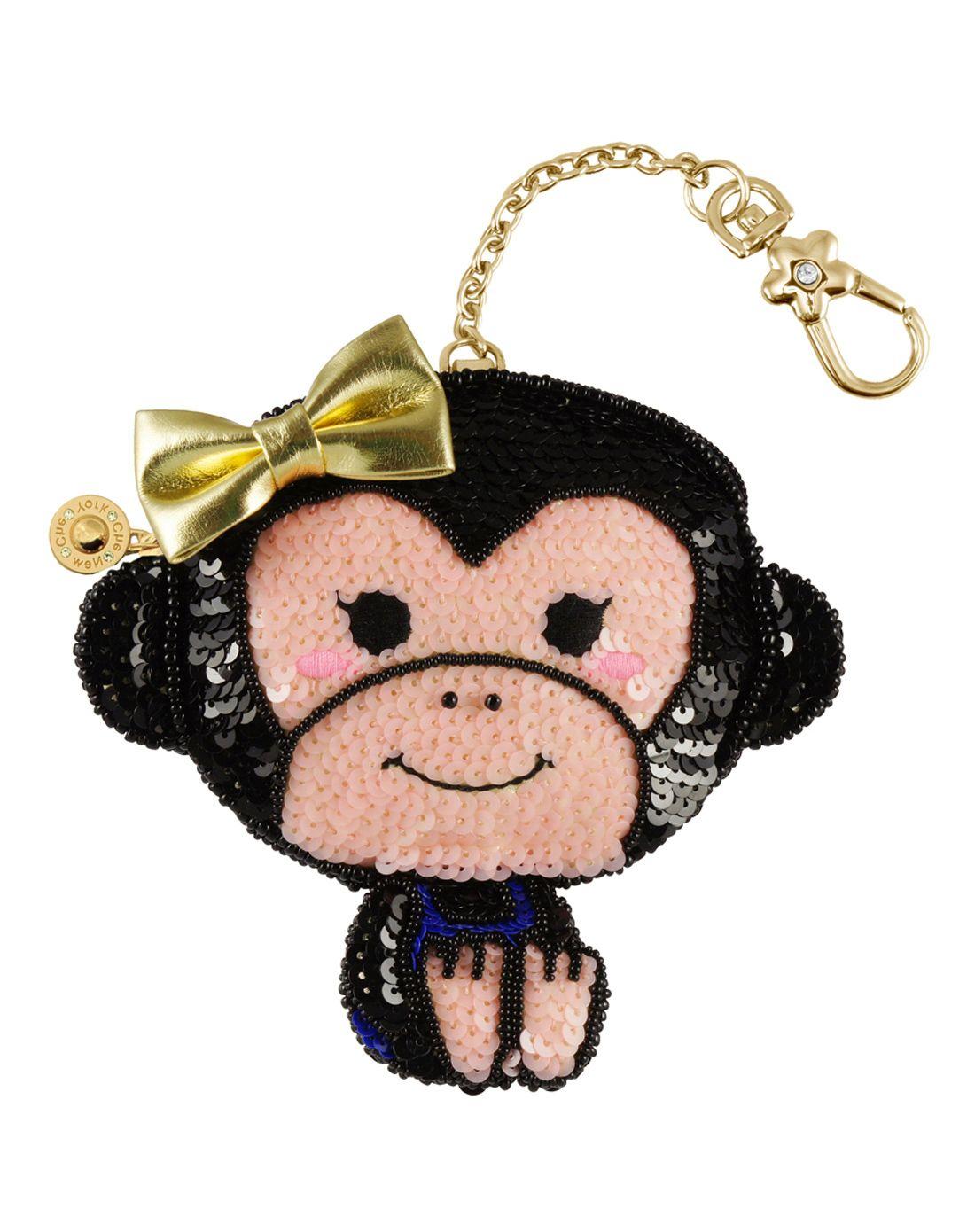 > che che可爱小猴图型手工钉珠片零钱包