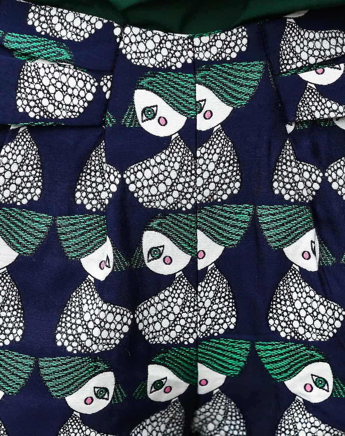 绿色动物对称印花短裤