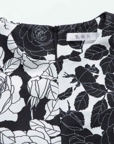 思蓓儿黑白色玫瑰花上衣5xes01392