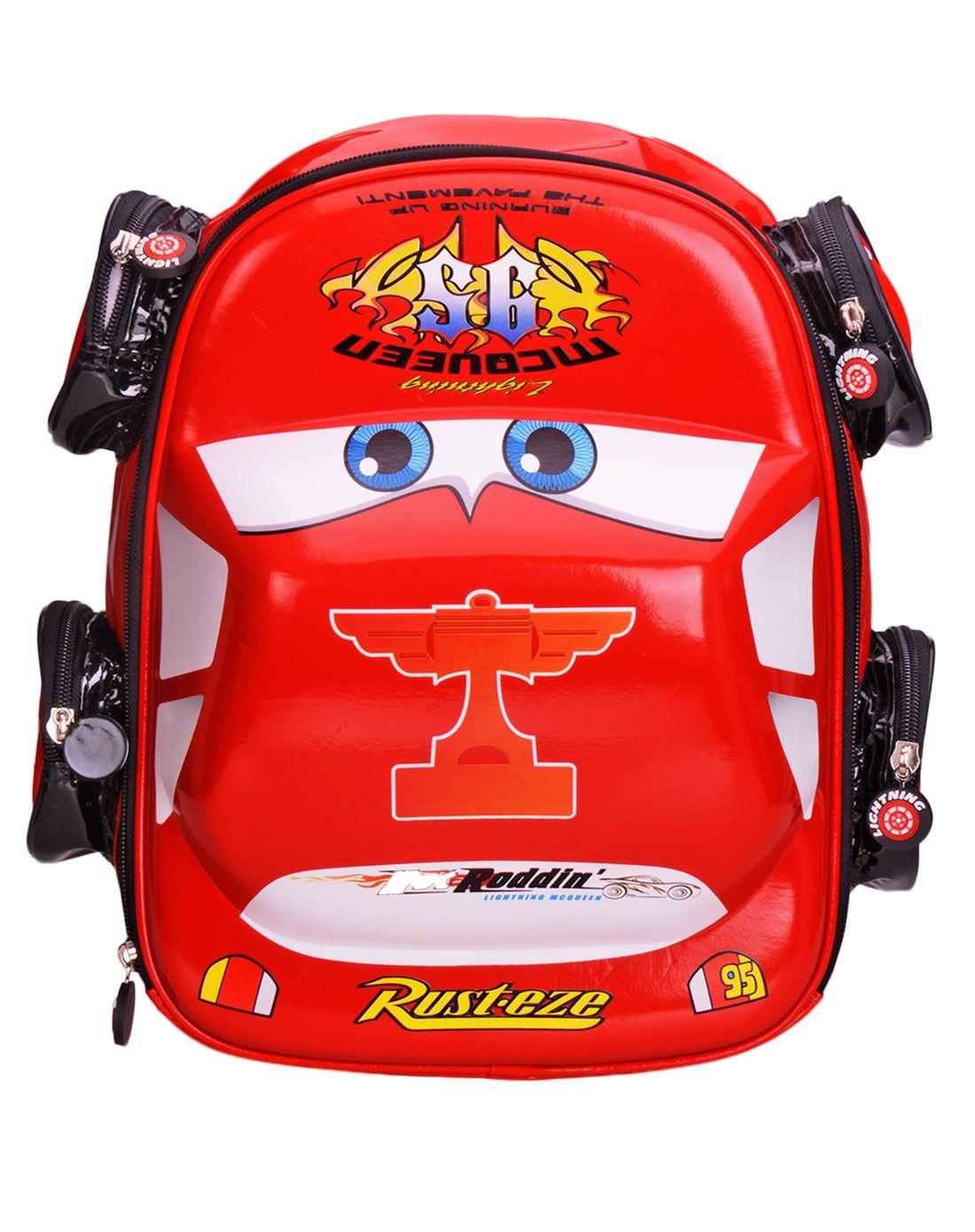 迪士尼男童大红色卡通汽车幼儿包