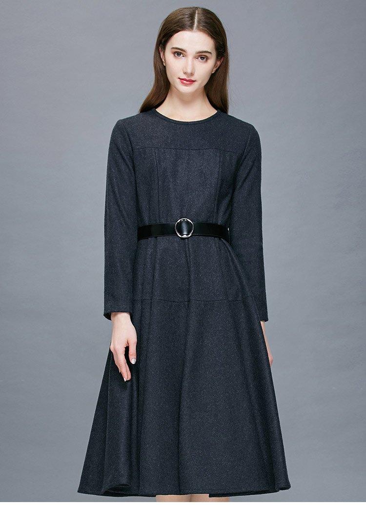 时尚简约长袖连衣裙图片
