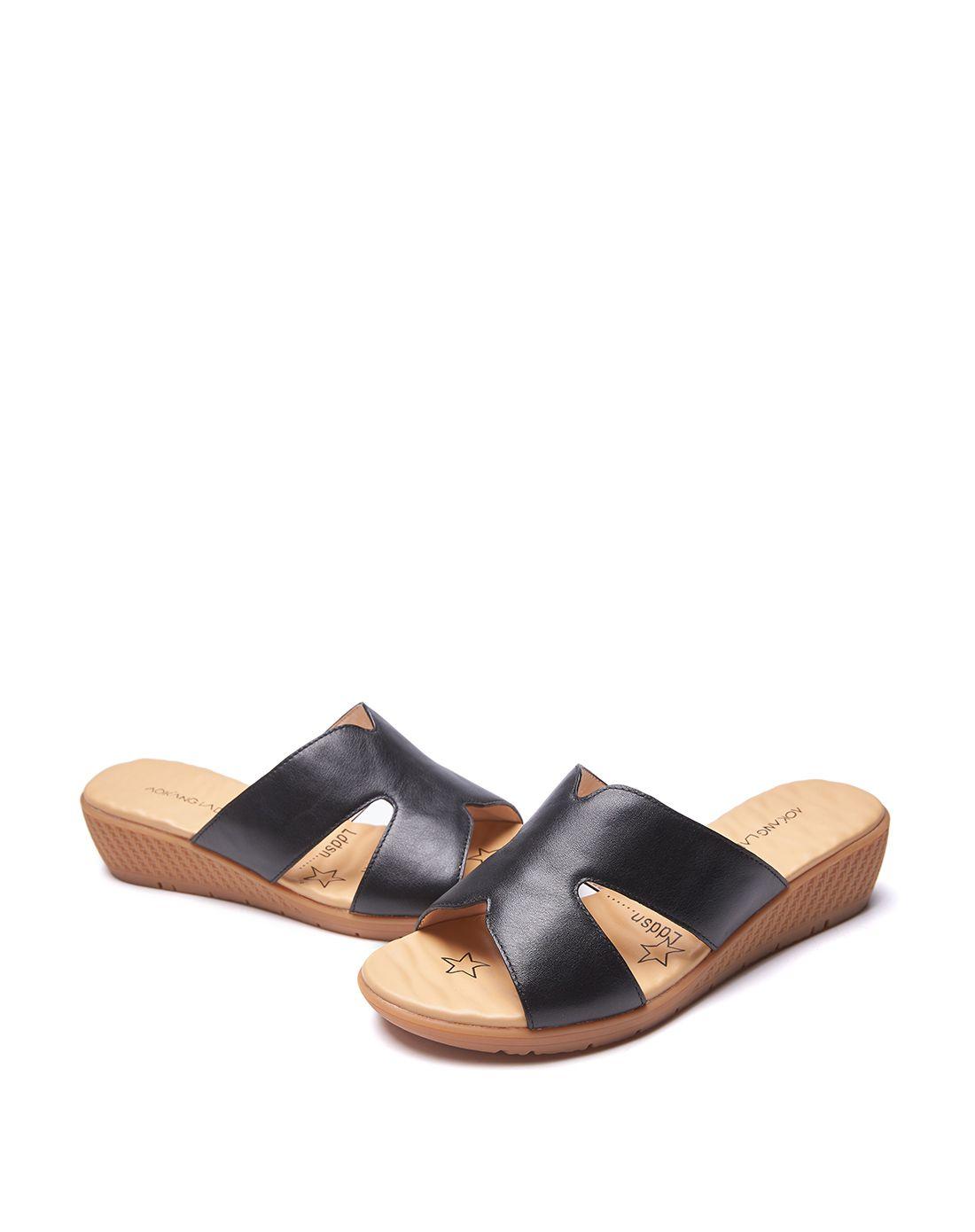 奥康女款黑色休闲女式拖鞋