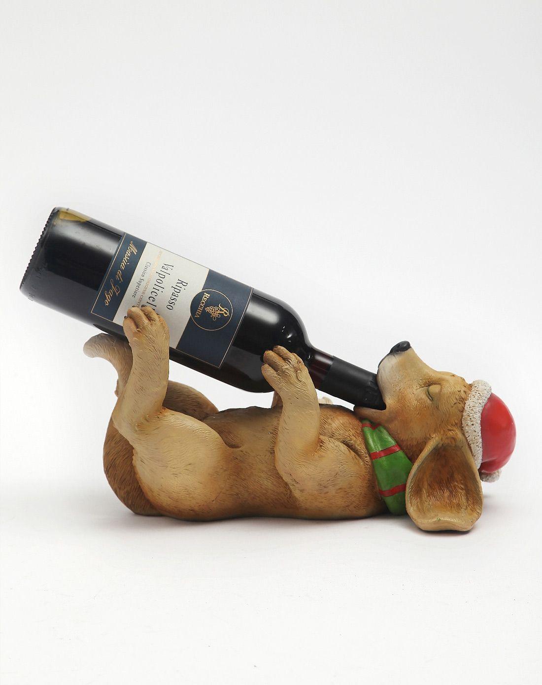 狗手绘树脂造型红酒架2