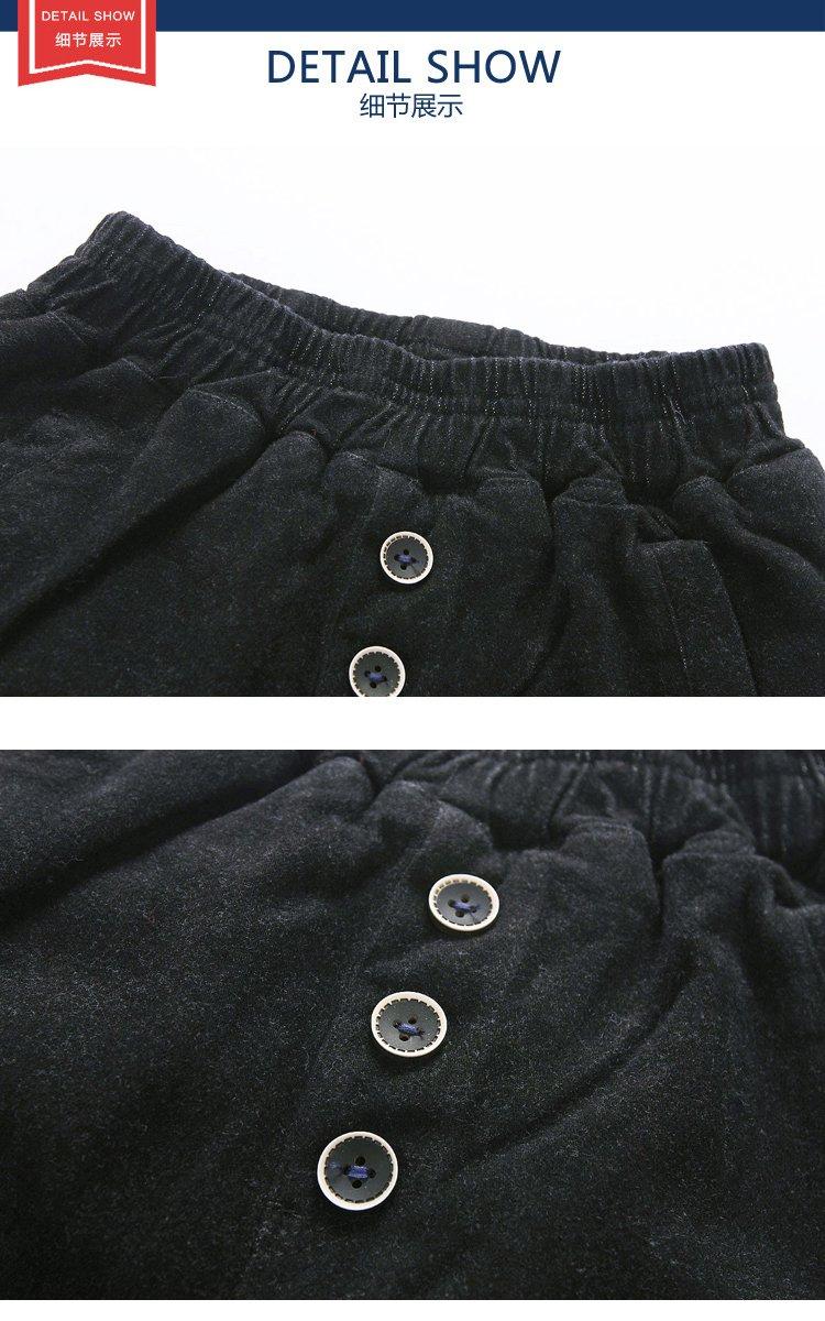 男童刺绣小人长裤黑色