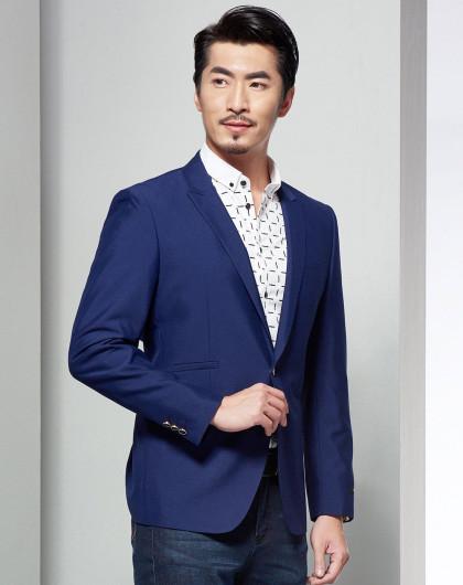 紫蓝色奢华欧式商务休闲戗驳领西服